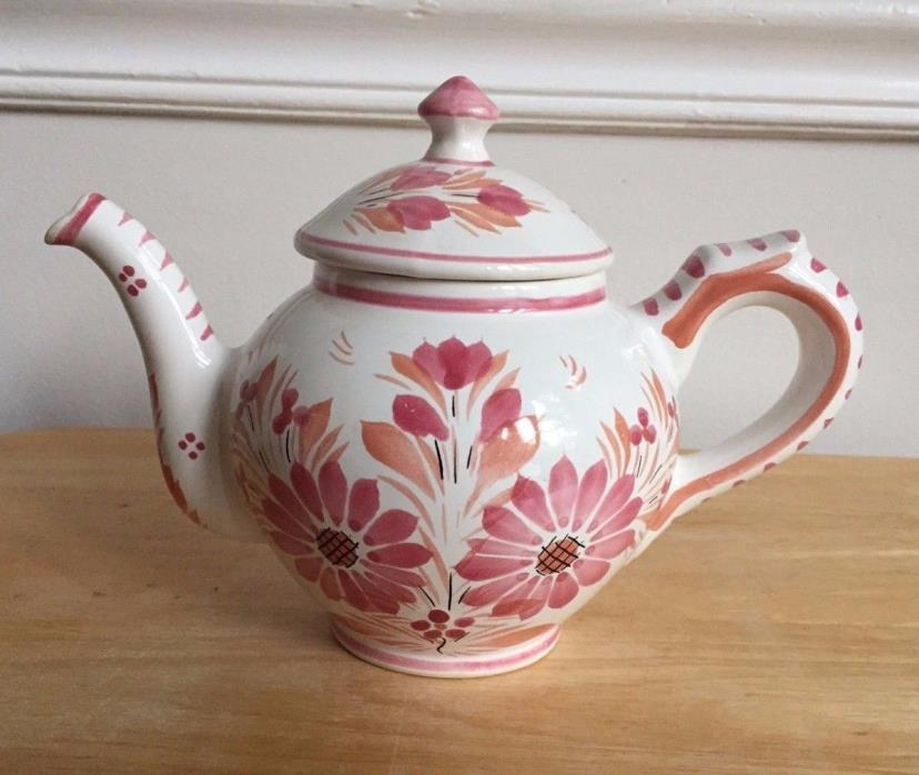 HB HENRIOT QUIMPER Hand Painted Pink Floral Teapot - France - EUC