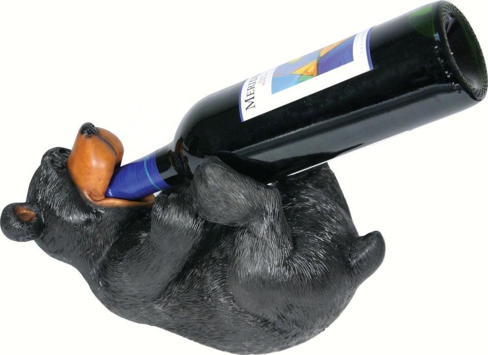 Drinking Bear Wine Bottle Holder Figurine Statue