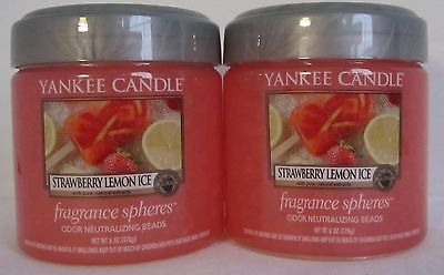 Yankee Candle Fragrance Spheres Odor Beads Lot Set of 2 STRAWBERRY LEMON ICE
