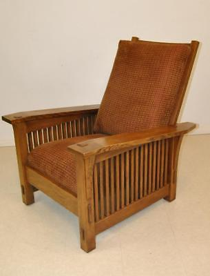 Stickley Oak Morris Chair with Side Square Spindles