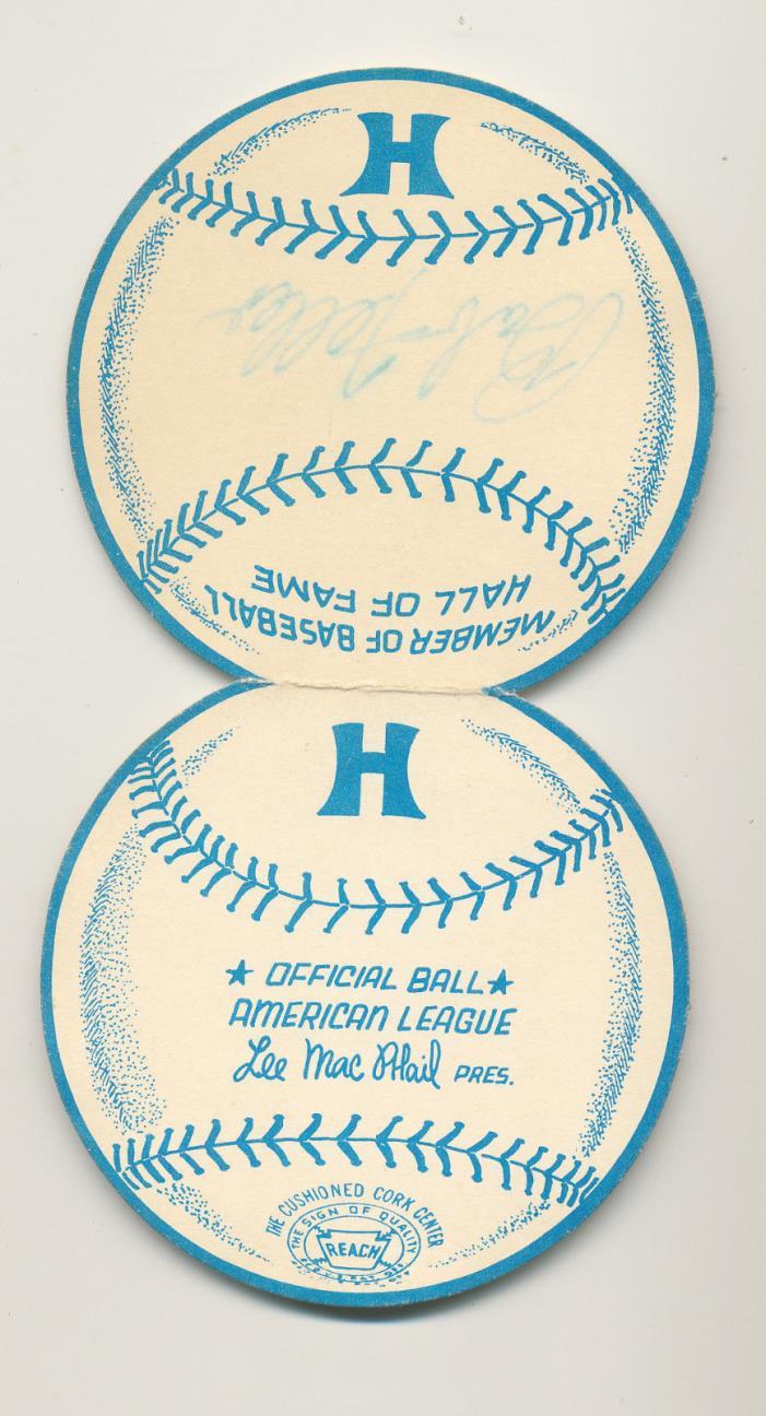 Bob Feller autographed 1970s Hilton Hotels business card, Cleveland Indians