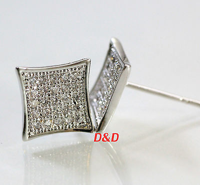 9mm Mens 18k White Gold Finish Real Silver Square Lab Diamond  Studs Earrings