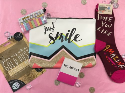 Just Smile Gift Pack socks notepad face mask zipper clutch women girls glitter
