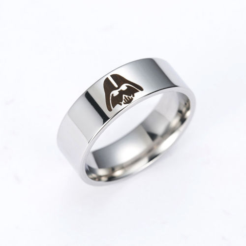 Fashion Titanium Men Star War Darth Vader Symbol Stainless Steel Rings Jewelry