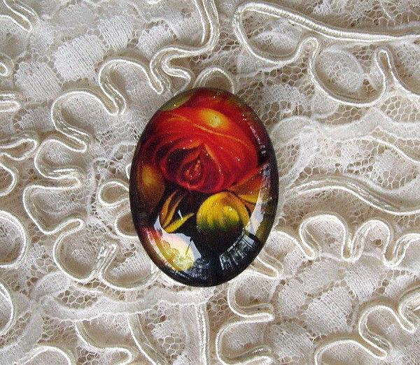 Folk Art Floral 30X40mm Glitter Unset Handmade Art Bubble Cameo Cabochon