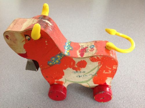 Vintage 1960s Fisher Price Bossy Bell Cow Wooden Pull Toy