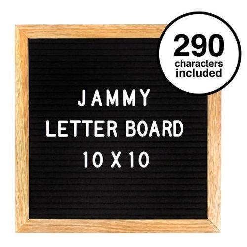 jammy letter board: 10x10 Inch Felt Letter Board with 290 Changeable Helvetica