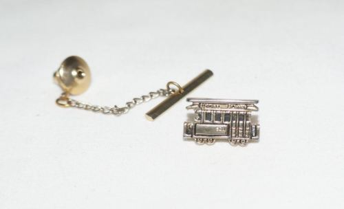 Vintage Powell Mason San Francisco Trolly Cable Car Tie Tack with Safety Chain