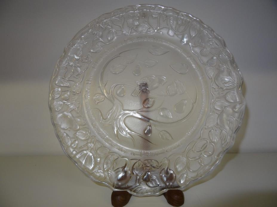 IMPERIAL GLASS CORPORATION 1ST DAY OF 12 DAYS OF CHRISTMAS FROSTED GLASS PLATE