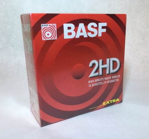 BASF 2HD High Density Double Sided 1.44MB Diskettes 135 TPI 10pk FACTORY SEALED