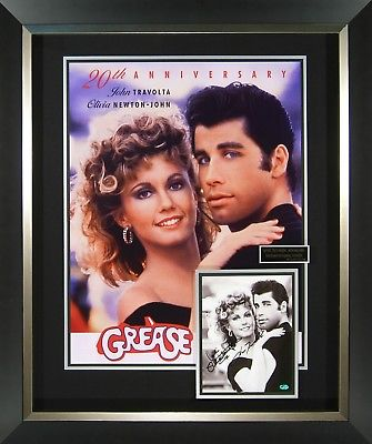 GREASE Signed Movie Poster Framed Display John Travolta Olivia Newton-John