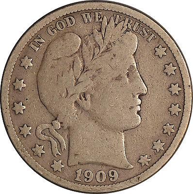 1909-S Barber Half Dollar ~ F (Fine)