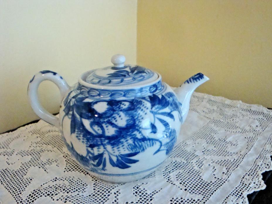 Antique Chinese Export Blue and White Tea Pot