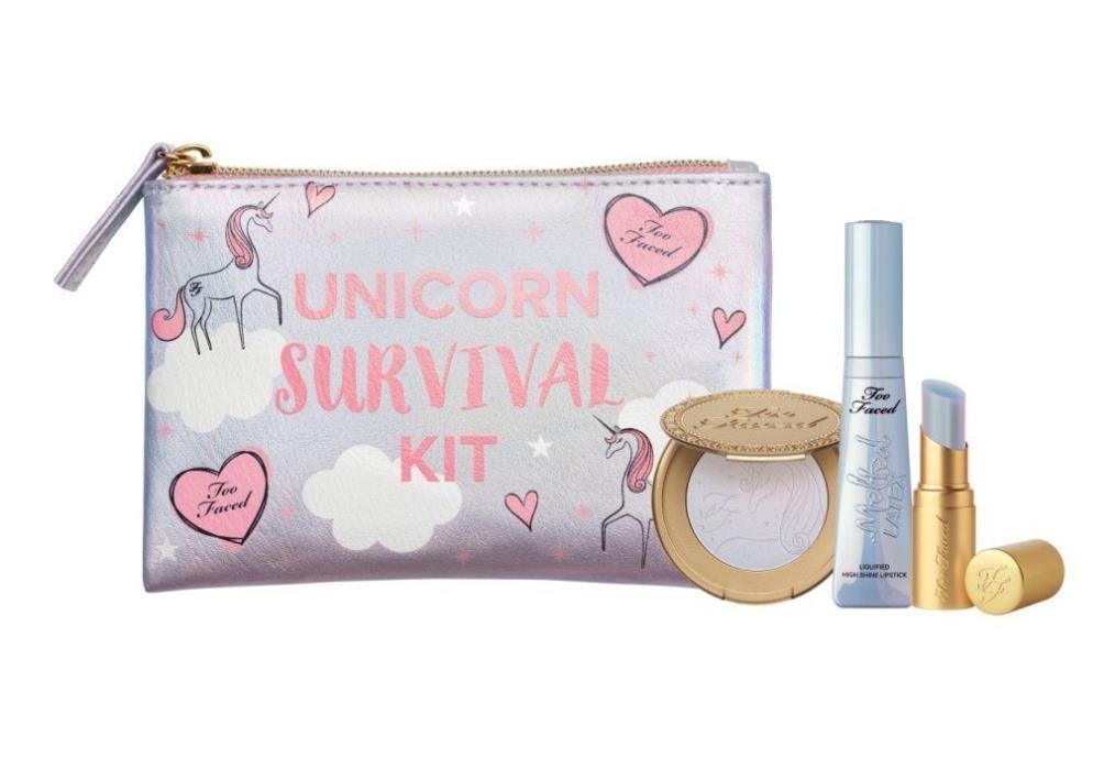 NEW Too Faced Unicorn Survival Kit UNICORN TEARS LIPSTICK HIGHLIGHTER BAG Ltd Ed