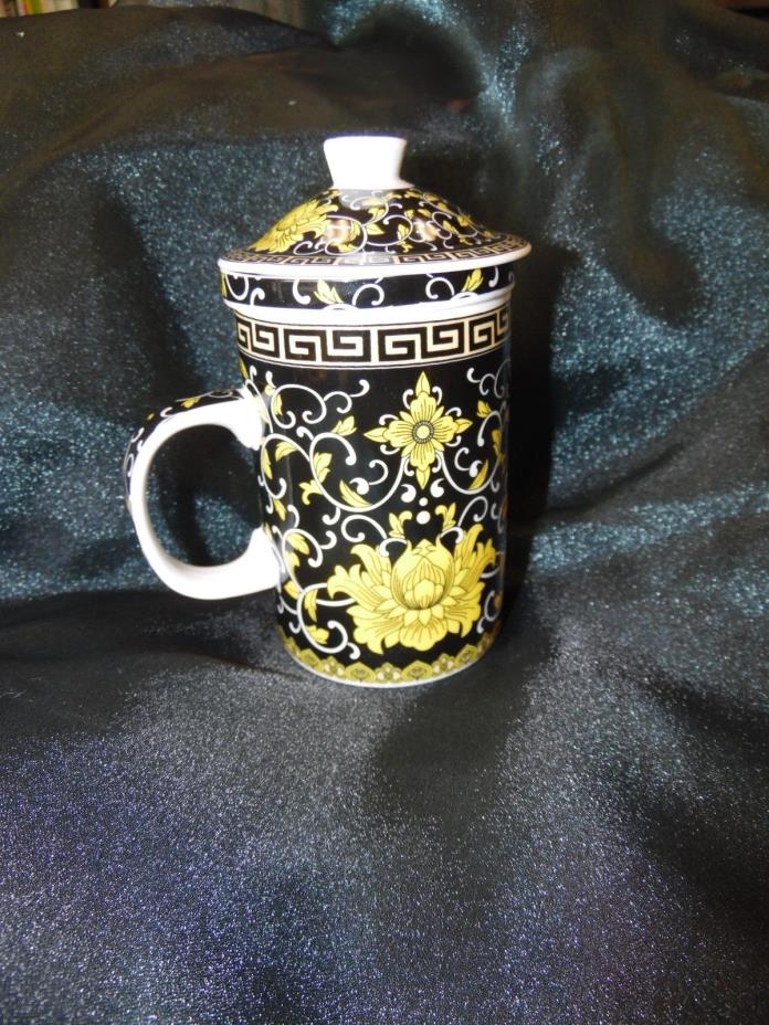 Tea cups with infuser and lid Black & Yellow