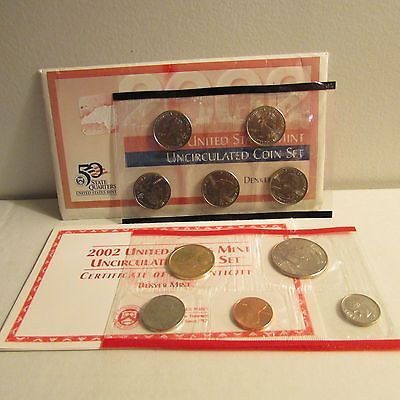 2002 Uncirculated Coin Set US Mint Denver Philadelphia COA