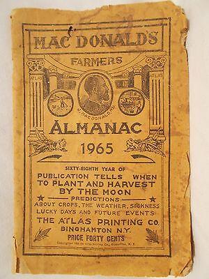 VINTAGE  MAC  DONALD'S  * 1965 * FARMERS  ALMANAC  PAPERBACK