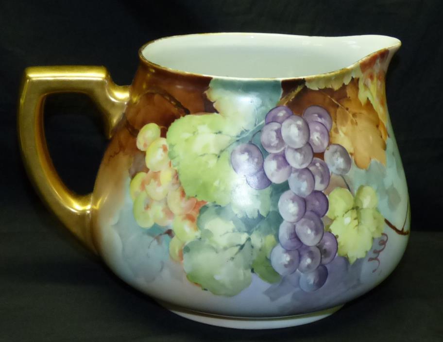 Antique Limoges France Hand Painted Grapes Cider Lemonade Pitcher Jug w/ Gold
