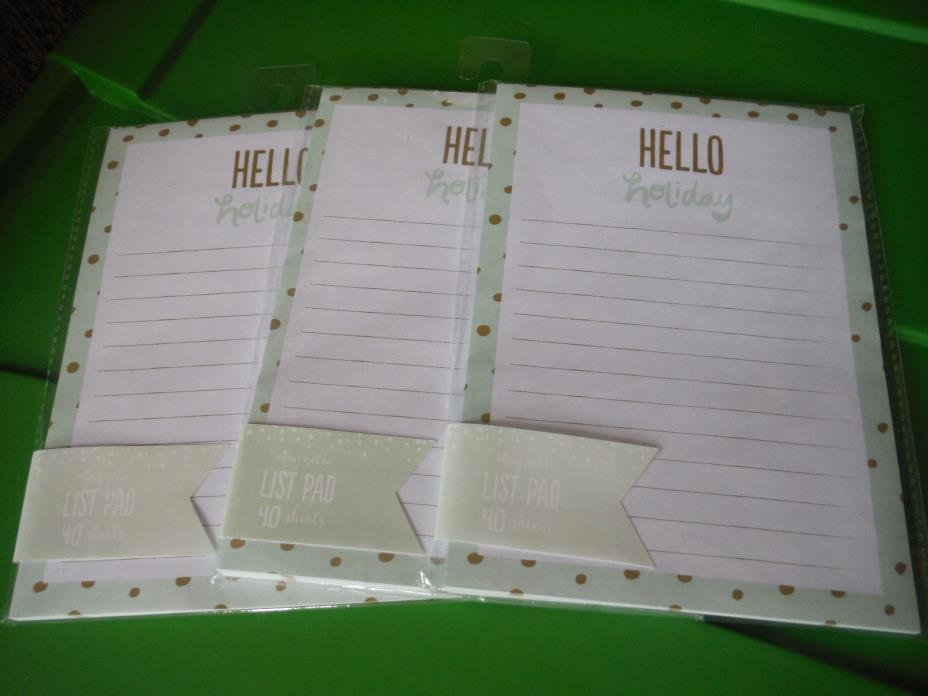 NEW LOT OF 3 HELLO HOLIDAY MAGNETIC LIST NOTE PADS 5
