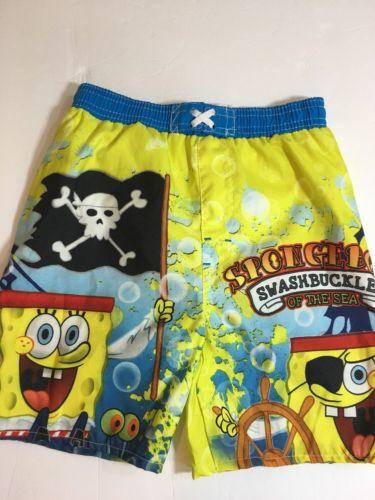 Spongebob Square Pants Swimming Shorts Trunks Nickelodeon Size 4/5 (B5) Swim Go