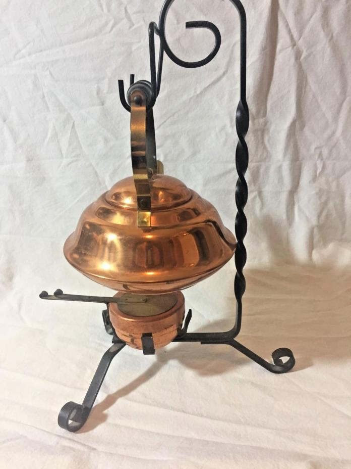 Vintage Antique Copper Brass Teapot Kettle Iron Stand Votive Coppercraft Guild