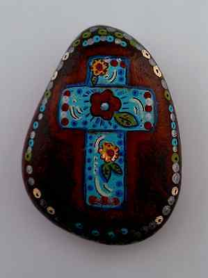 Bohemian Gypsy cross stone hand painted garden home decor