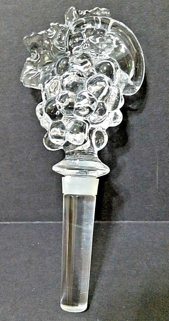 Wine Bottle Stopper - Mikasa - Solid Crystal Clear Glass Grape W/Grape Leaves