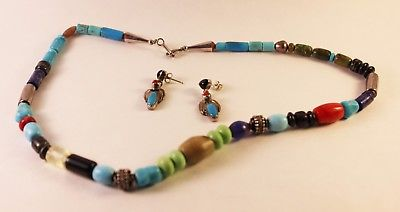 Sterling Silver and Multi Gemstones Necklace and Earrings Set