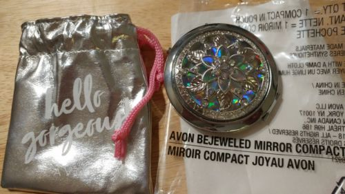 AVON Jeweld Style Compact Mirror Silver With Carting bag (BLING BLING) NEW
