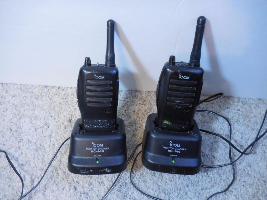 ICOM BC-146 Walkie Talkies and Chargers