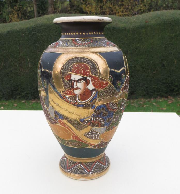 Satsuma Style Moriage Vase with Samurai Warriors, Gold Gilt Decoration 22cm high