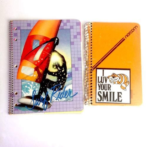 Vtg 80s Futuristics Surf Rider Cheshire cat lot of notebooks stationary