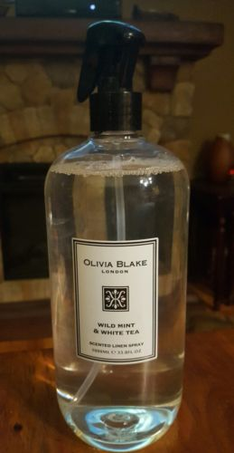 Olivia Blake London WILD MINT & WHITE TEA Scented Linen Spray JUMBO 33.8 oz NEW!
