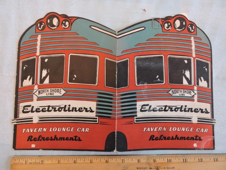 nice 1946 ? electroliner railroad chicago north shore & milwaukee line menu