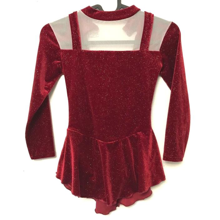 Unicorn Sports Ice Scaking Dress L 12 Red Dance Leotard Costume Sparkle Sheer