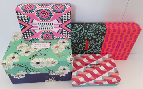 Birchbox Lot of 5 Empty Decorative and Collectible Craft Boxes Small and Medium