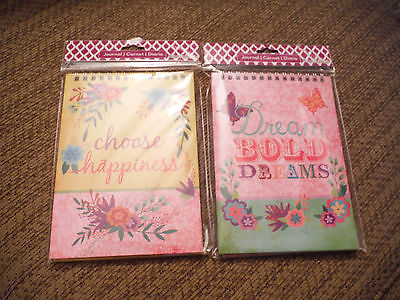 NEW Lot of 2 Happiness & Dreams 80 Sheets Ea Journals Notepads Spiralbound