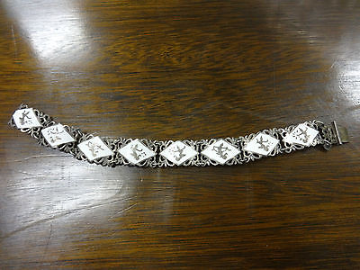 "Siam Sterling Silver .925 Signed White Enamel Bracelet 8 Link 7 3/8"""