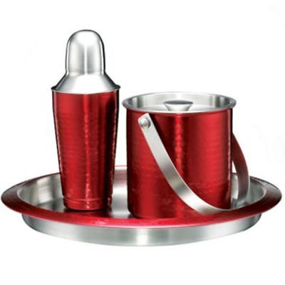 Cambridge Hammered Stainless Steel 3pc Barware Set NEW $100
