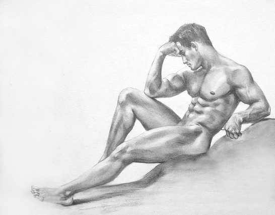 SALE Gay Male Atlas Pose ~ Beautiful Graphite Pencil Sketch NEW and Signed!