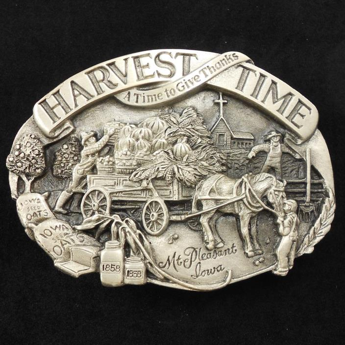 Vintage 1985 Harvest Time  Belt Buckle Farmer Farm Church Pumpkins Horse Iowa