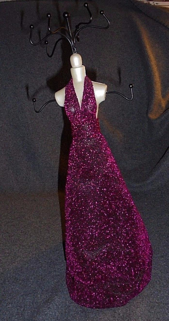 Mannequin necklace jewelry holder, burgundy sparkly ballgown, holds 8 necklaces