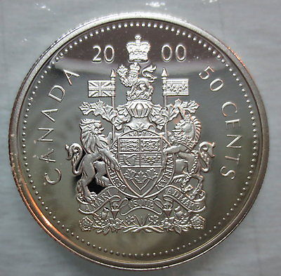 2000 CANADA 50 CENTS PROOF SILVER HALF DOLLAR COIN
