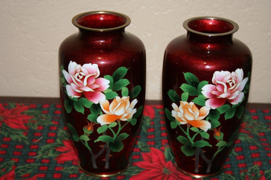 Beautiful Pair of Vintage Chinese ox blood ginbari Cloisonne Vases
