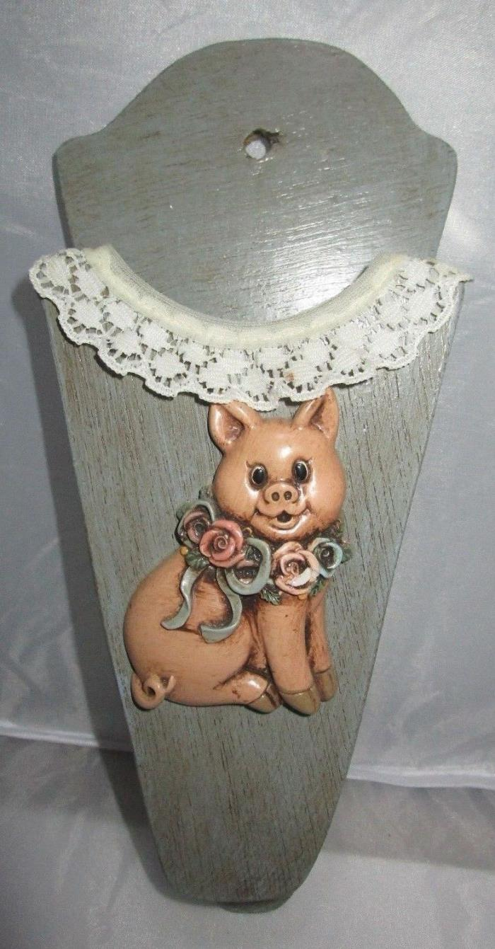 Vintage Wooden Hand Made Wall Pocket Scissors Holder Pig with Rose Collar & Lace