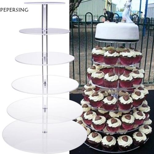 6 Tier Acrylic Round Transparent Cake Stand For Wedding Party Birthday