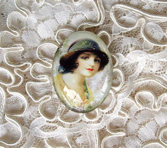 Vintage Beauty 30X40mm Glitter Unset Handmade Art Bubble Cameo Cabochon