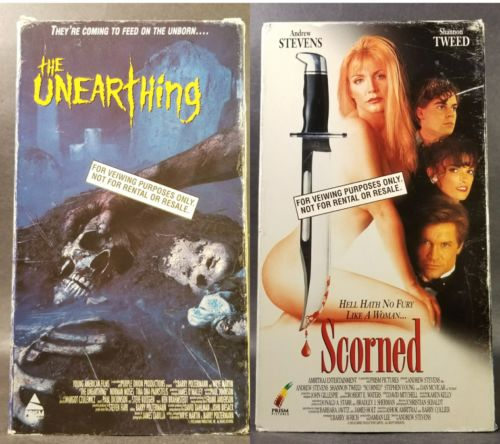 The Unearthing & Scorned (VHS, 1994, Double Promo) Used VG, Shannon Tweed, OOP!