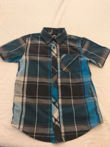 Tony Hawk Boys Large Button Down Plaid Shirt DD