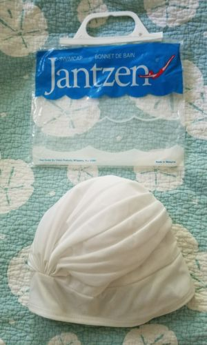 Lined swim cap vintage Jantzen white in original package